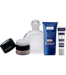 kit coffret maquillage anna pegova - solução micelar 200ml bb cream multifuncional 30g pó facial translúcido 6g corretivo alta definição 5g