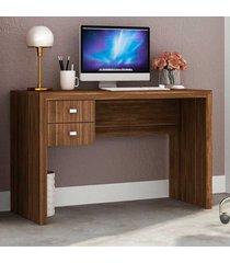 mesa escrivaninha 2 gavetas me4123 nogal - tecno mobili