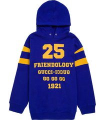 gucci blue cotton hoodie with print
