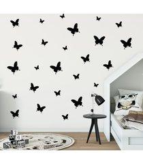 adesivo de parede borboletas pretas 25un cobre 1,5mâ² - preto - menina - dafiti