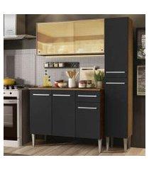 cozinha compacta madesa emilly gold com armário, balcão e paneleiro - rustic/preto cor:rustic/preto