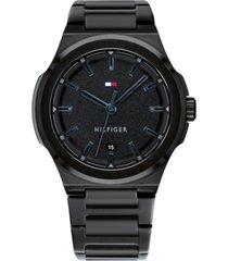 tommy hilfiger men's black bracelet watch 43mm