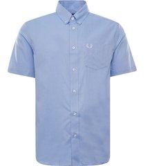 fred perry short sleeve oxford shirt   light smoke   m8502-146