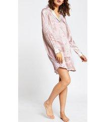 river island womens cream long sleeve tiger print shirt dress