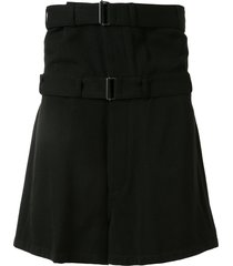 ann demeulemeester double belt bermuda shorts - black