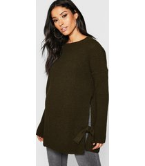 maternity tie side sweater, khaki