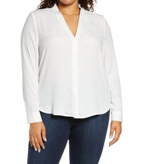 plus size women's halogen v-neck top, size 1x - ivory