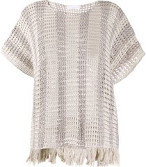fabiana filippi chunky knit fringed edge top - neutrals