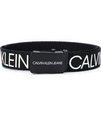 calvin klein kids two tone logo print belt - black