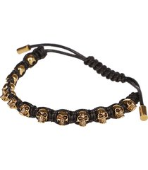 alexander mcqueen black cord skull friendship bracelet