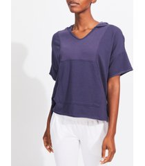 kensie women's v-neck rib insert short sleeve pullover