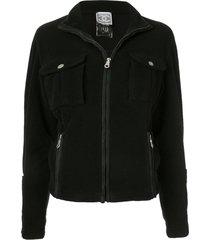 chanel pre-owned fleece long sleeve coat jacket - black