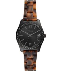 fossil women's scarlette tortoise-look bracelet watch 32mm