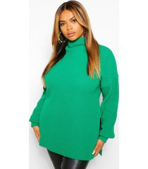 plus roll neck side split sweater, bright green