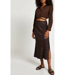 river island womens brown animal print side split maxi skirt