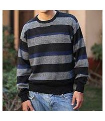 men's alpaca blend sweater, 'casual classic' (peru)