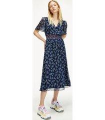 tommy hilfiger women's paisley chiffon dress paisley print / twilight navy - xxs