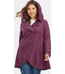 plus size asymmetric button hooded coat