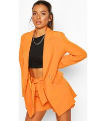 petite belt detail double breasted blazer, orange