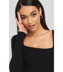na-kd square neck ribbed dress - black