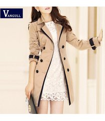 vangull brand trench coat for women turn down collar double breasted long coats