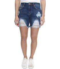 almost famous dark wash distressed denim shorts