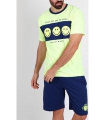 pyjama's / nachthemden admas for men iconic speaker smiley admas pyjama shorts t-shirt