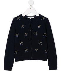 bonpoint cherry-embellished knit cardigan - blue