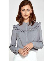 bluzka z falbankami w szare kropki
