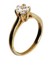 anel barbara strauss semi joia maisa em zircônia transparente rev. em ouro 18k