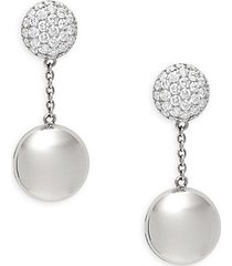 18k white gold, ruby & diamond earrings