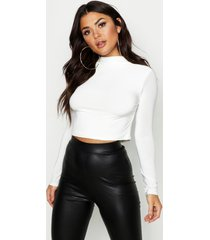 double layer slinky funnel neck crop top, ivory