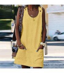 zanzea mujeres con tiras tapa de la túnica camisa de la blusa sin mangas t vestido de tirantes mini vestido -amarillo