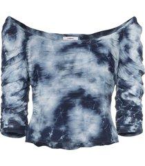 miaou madeline tie-dye crop top - blue