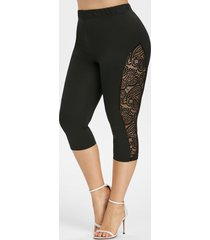 plus size lace insert high waisted capri leggings