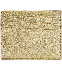 natural glitter leather card case