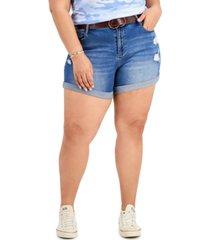 dollhouse trendy plus size belted denim boyfriend shorts