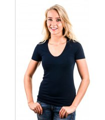 garage t-shirt ladies v-neck navy ( art 0702)