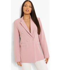 tall blazer met knoop detail, blush