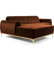sofá 3 lugares com chaise base de madeira euro 245 cm veludo telha  gran belo