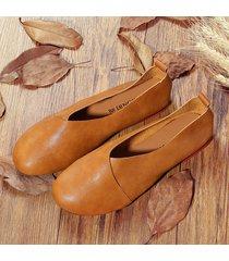 vintage casual mocassini bassi slip-on in colore a tinta unita loafers