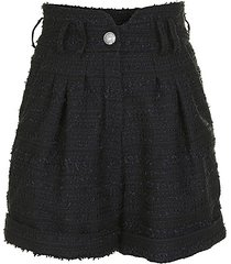 high-rise pleated tweed shorts