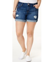 celebrity pink plus size frayed high-waisted denim shorts