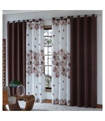 cortina para sala sultan florida 3.00 x 2.50 cm marrom