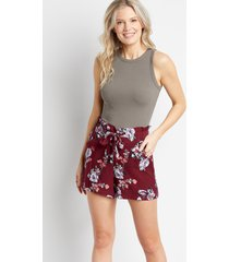 maurices womens maroon floral soft challis 5in shorts red