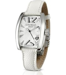 locman designer women's watches, panorama white mother-of-pearl dial dress watch