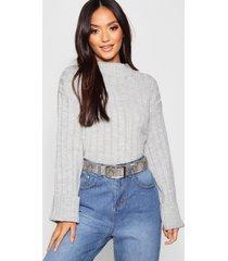 petite rib knit high neck sweater, grey