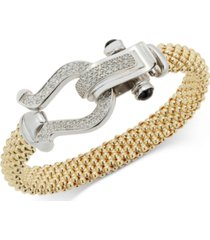 diamond horseshoe clasp mesh bracelet (5/8 ct. t.w.) in 14k gold-plated sterling silver or 14k rose gold-plated sterling silver (also available in sterling silver)