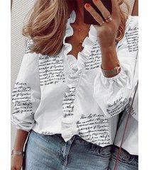 blusa de manga larga con cuello en v y volantes con letras