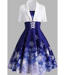 christmas snowflake criss cross velvet insert dress